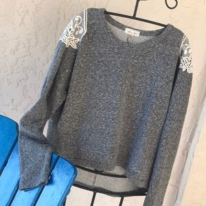 Anthropologie sweatshirt with lace detail, medium